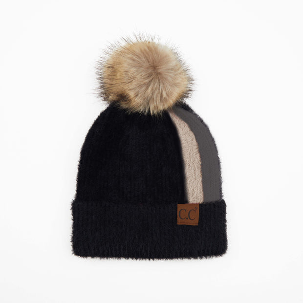 BLACK CHENILLE POM BEANIE WITH STRIPE DETAIL
