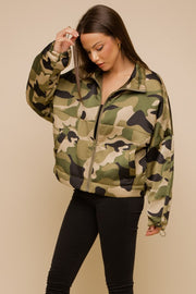 SATIN CAMO BOMBER JACKET