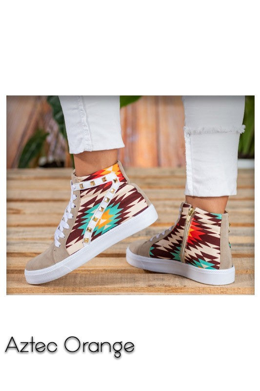 AZTEC ORANGE HIGH TOP SNEAKERS