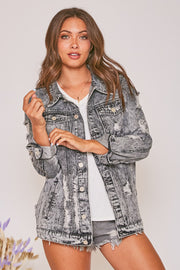 CHARCOAL DISTRESSED DENIM JACKET