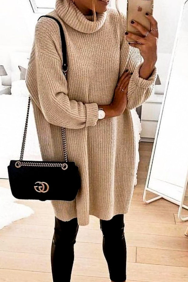 LATTE RIBBED TURTLE NECK OVERSIZED SWEATER TOP