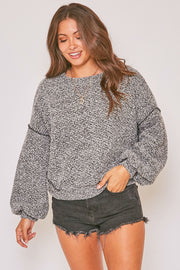 GRAY TEXTURED KNIT SWEATER