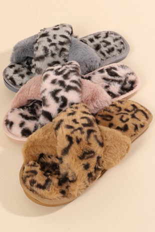 LEOPARD CROSS BODY SLIPPERS