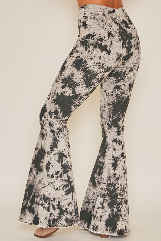 GREY/BLACK TIE DYE HIGH RISE FLARES