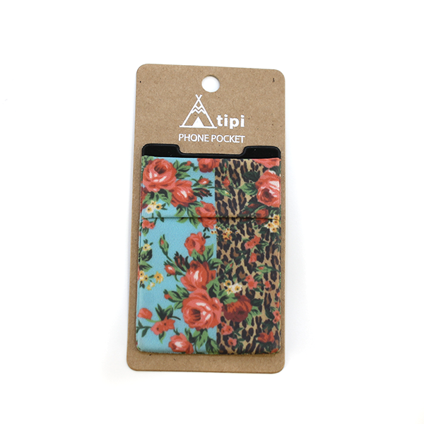 FLORAL LEOPARD PHONE POCKET