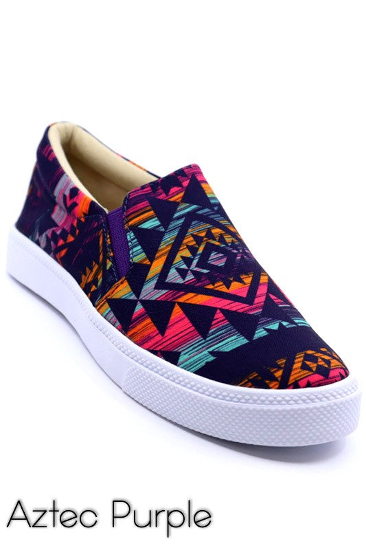 PURPLE AZTEC SLIP ONS