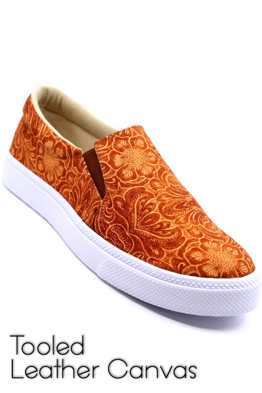 TOOLED LEATHER SLIP ONS