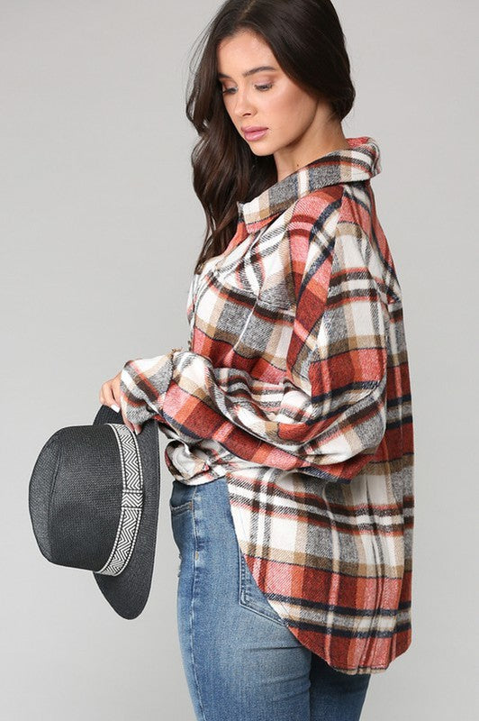 GINGER PLAID SHIRT JACKET