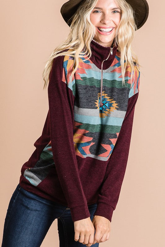 ZIP UP FRONT BURGUNDY AZTEC PULLOVER