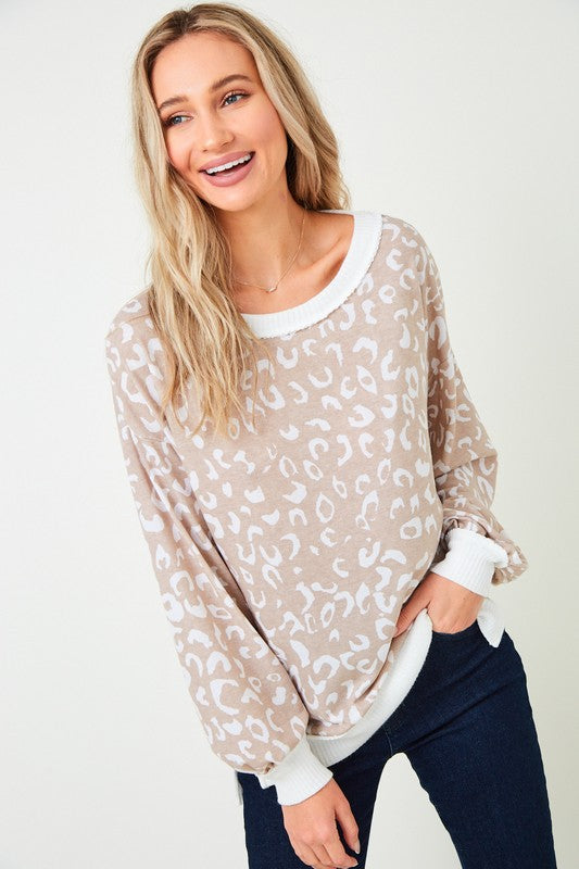 TAUPE ANIMAL PRINT KNIT TOP - PLUS SIZE
