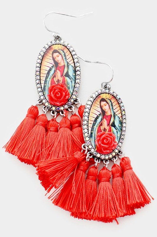 RED VIRGIN MARY TASSEL EARRINGS