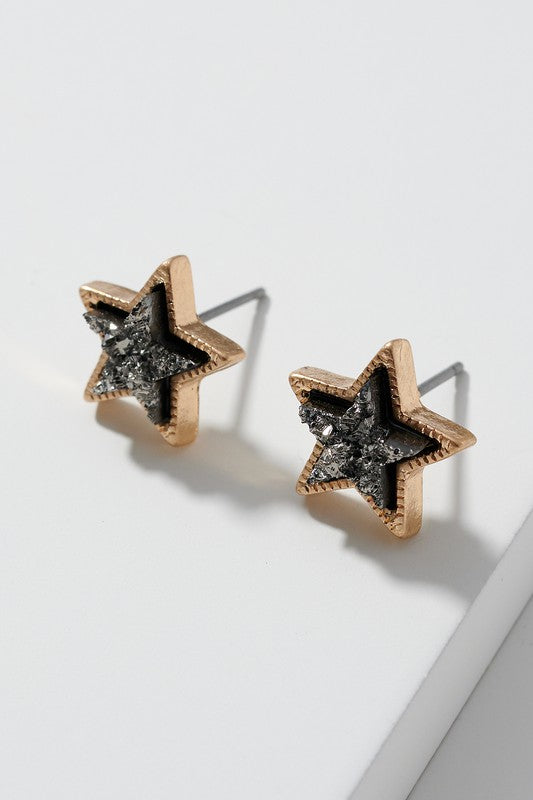 CHARCOAL DUSTY STAR EARRINGS