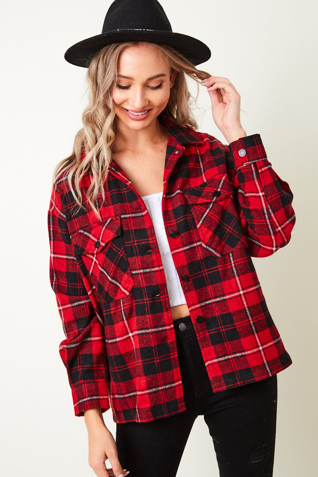 RED/BLACK PLAID SHIRT WITH CHEST POCKETS