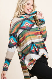 CREAM AZTEC LOOSE TUNIC TOP COWL NECK
