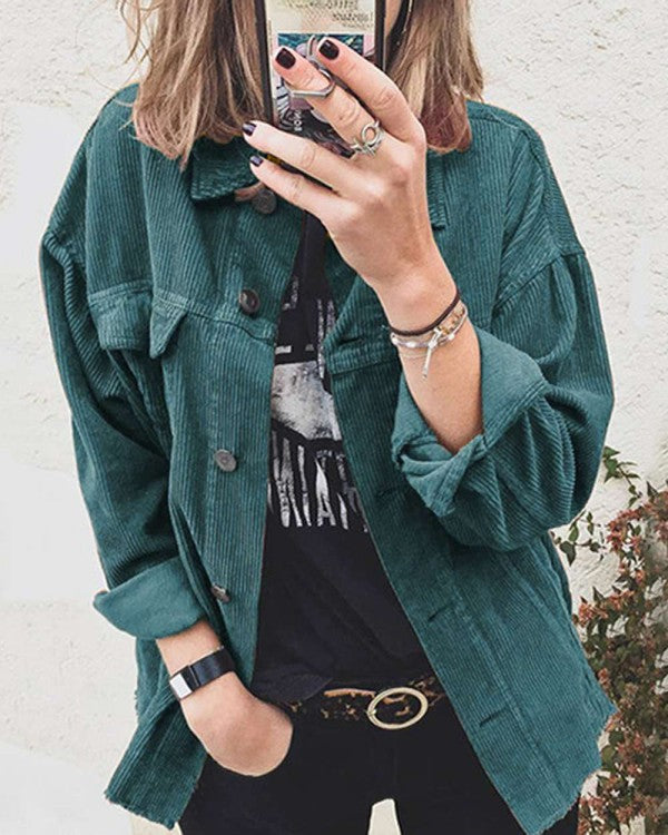 DEEP TEAL BLUE CORDUROY SHIRT JACKET