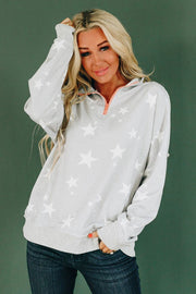 GRAY STAR QUARTER ZIP