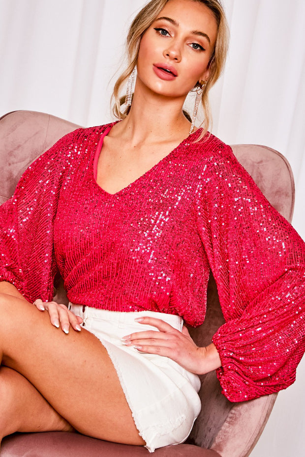 FUCHSIA V NECK BALLOON SLEEVES SEQUIN TOP