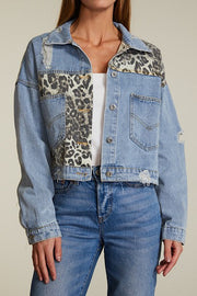 CREAM CHEETAH DENIM JACKET