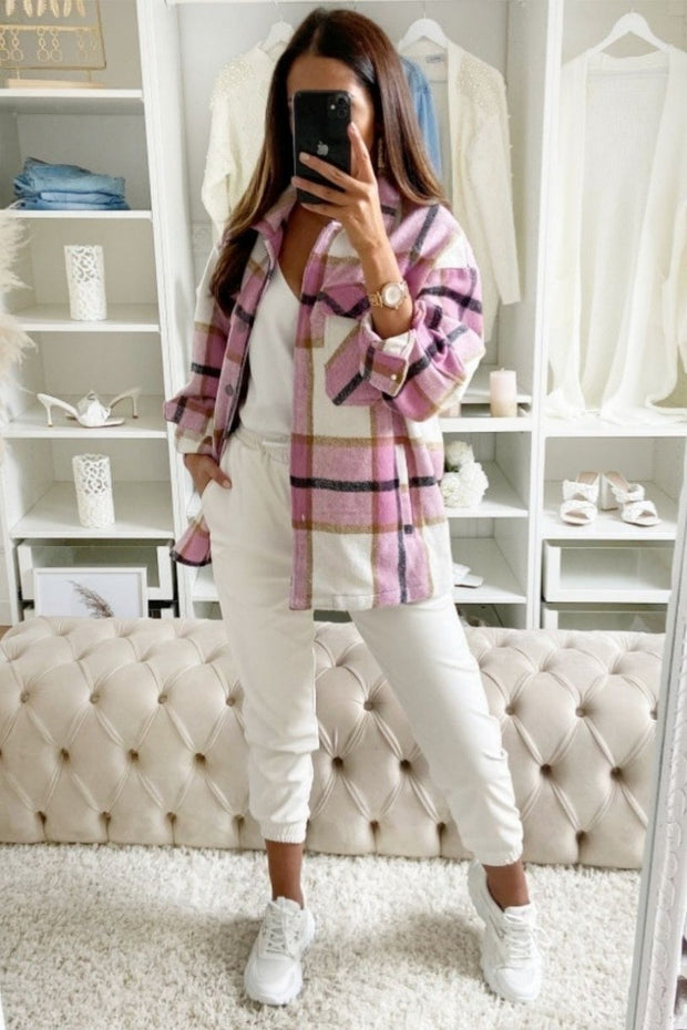 Pretty in Pink Oversized Checked Patch Pocket Shacket
