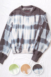 CHARCOAL TIE DYE CROPPED FRENCH TERRY PULLOVER