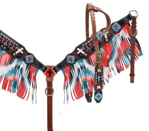 BEADED CROSS INLAY TURQUOISE/RED FRINGE TACK SET