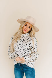 MONACO SILKY LONG SLEEVE BEIGE SPOTTED TOP