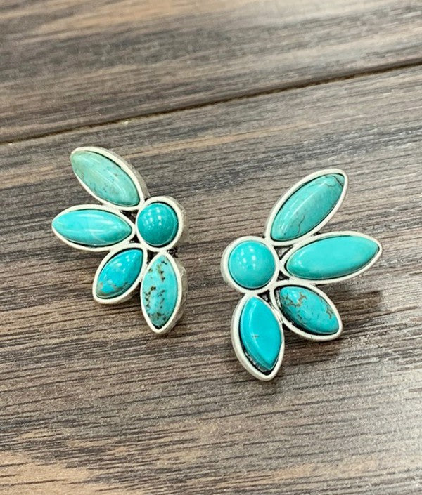 TURQUOISE FLORA STUDS