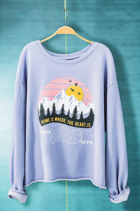 HOME SWEET HOME LAVENDER MINERAL WASHED CROPPED SWEATSHIRT