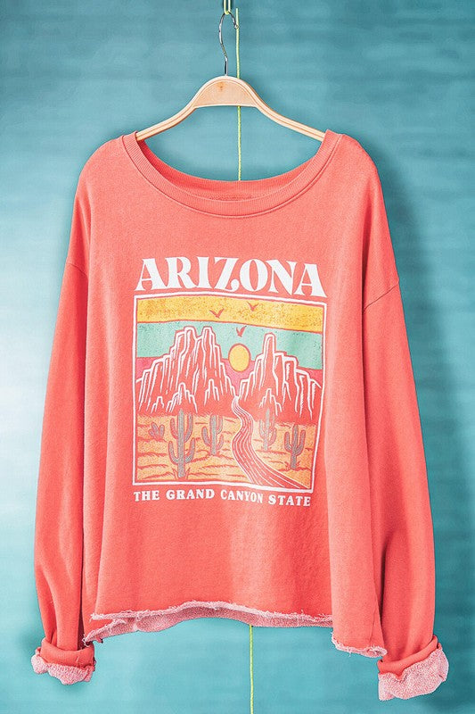 ARIZONA CORAL MINERAL WASHED CROPPED SWEATSHIRT