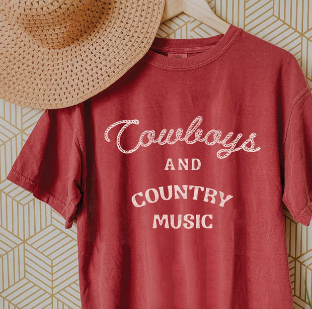 COWBOYS AND COUNTRY MUSIC RED TEE