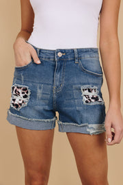 LEOPARD PEEK-A-BOO DENIM SHORTS