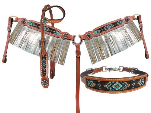 BEADED NAVAJO SILVER METALLIC FRINGE TACK SET