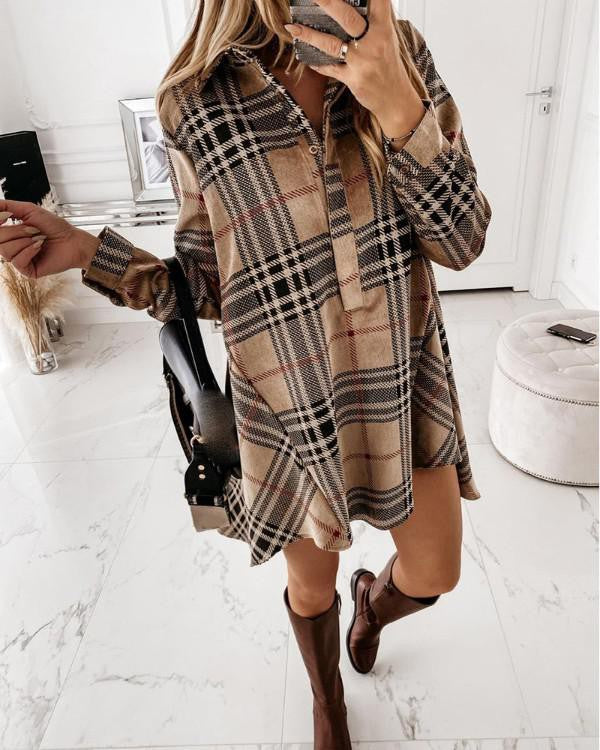 KHAKI PLAID CASUAL DRESS