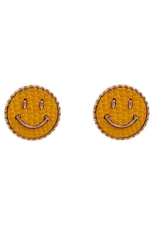 YELLOW SMILEY FACE STUD EARRINGS