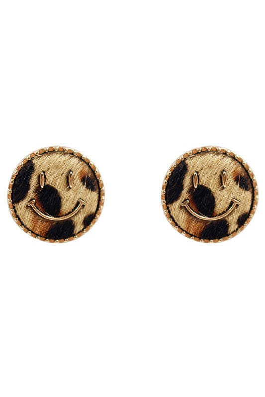 NATURAL LEOPARD SMILEY FACE STUD EARRINGS