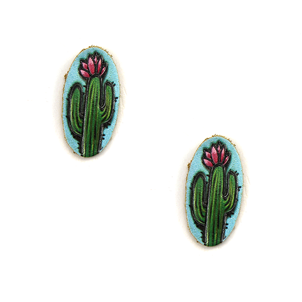 TURQUOISE TINY CACTUS LEATHER STUDS