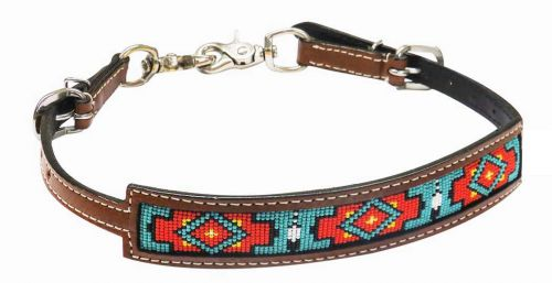 TEAL AND ORANGE TRIBAL BEADED WITHER STRAP