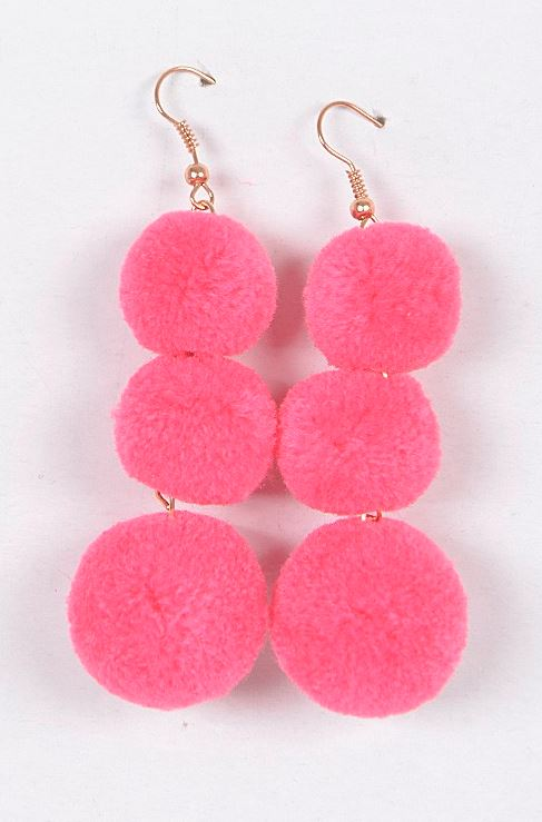FUCHSIA POM POM EARRINGS