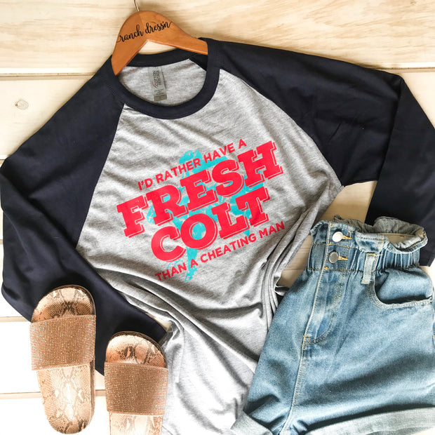 FRESH COLT - NAVY BASEBALL TEE