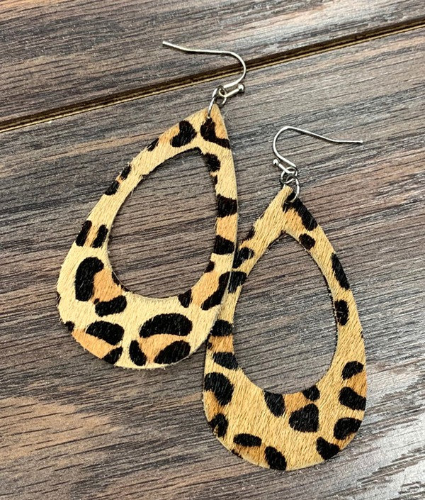 WILD LEATHER LEOPARD EARRINGS