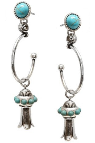 SQUASH BLOSSOM TURQUOISE STONE HOOP EARRINGS