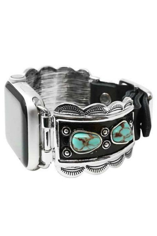 TURQUOISE STONE BLACK LEATHER APPLE WATCH BAND