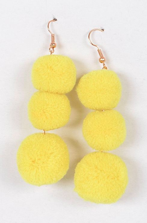 YELLOW POM POM EARRINGS
