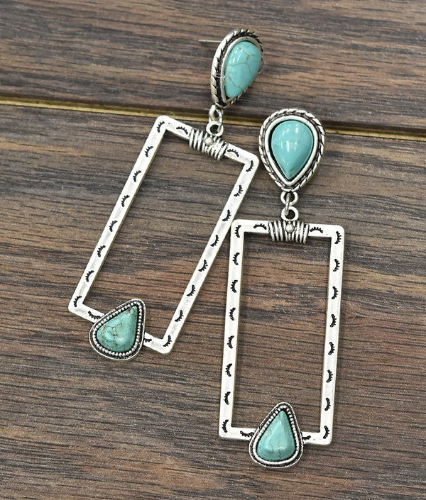 TURQUOISE RECTANGLE POST EARRINGS