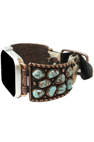 TURQUOISE STONE APPLE WATCH LEATHER BAND