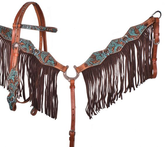 TURQUOISE AND BROWN FLORAL FRINGE TACK SET