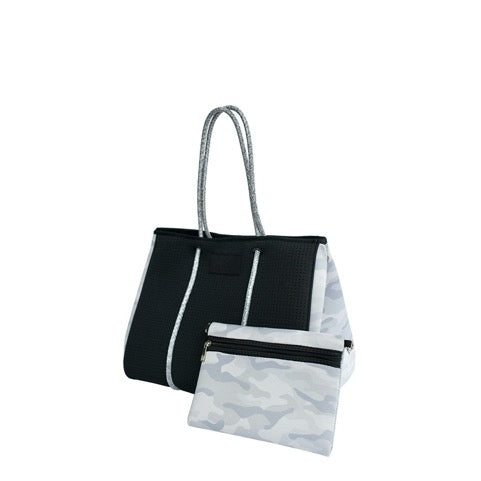 LIGHT GRAY CAMO NEOPRENE TOTE