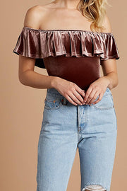 SABLE OFF-THE-SHOULDER VELVET BODYSUIT
