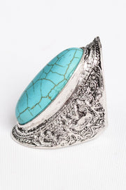 TURQUOISE FILIGREE ADJUSTABLE RING