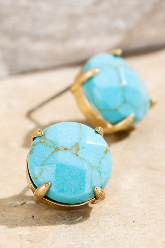 TURQUOISE NATRAL STONE STUD EARRINGS